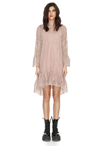 Beige Floral Lace Dress - PNK Casual