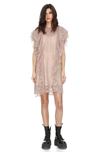 Beige Lace Ruffled Dress - PNK Casual