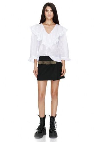 White Ruffled Blouse - PNK Casual