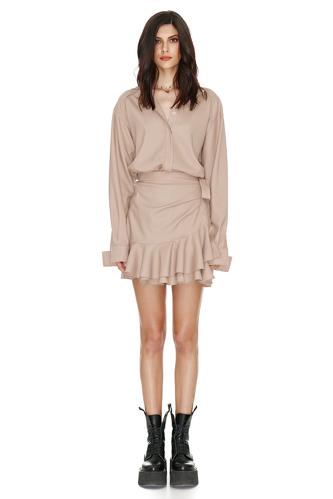 Wrap Effect Beige Dress - PNK Casual