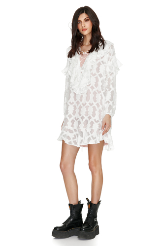 White Ruffled Mini Dress - PNK Casual