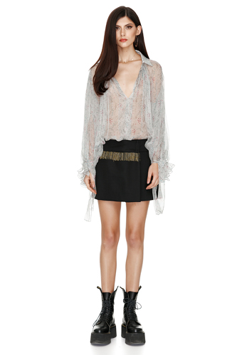 Pleated Flower Print Silk Blouse - PNK Casual