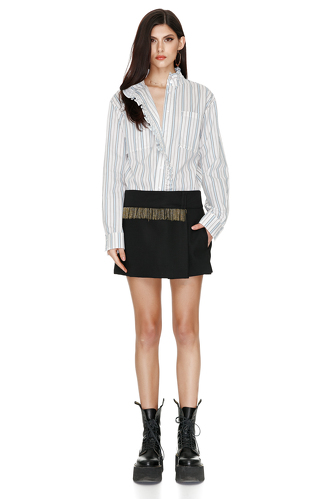 Black Wool Skirt With Beads Trim - PNK Casual