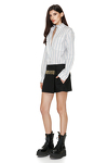 Black Wool Skirt With Beads Trim