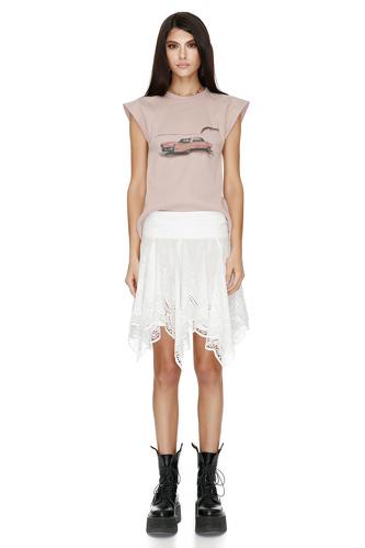 Asymmetric Skirt With Crocheted Hem - PNK Casual