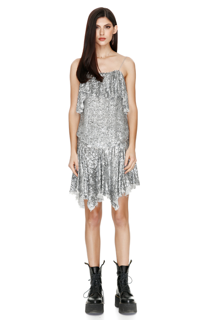 Asymmetric Sequin Skirt