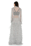 Pleated Ruffled Floral Print Silk Maxi Dress