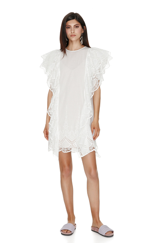 White Ruffled Cotton Lace Dress - PNK Casual