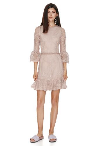 Beige Lace Mini Dress - PNK Casual