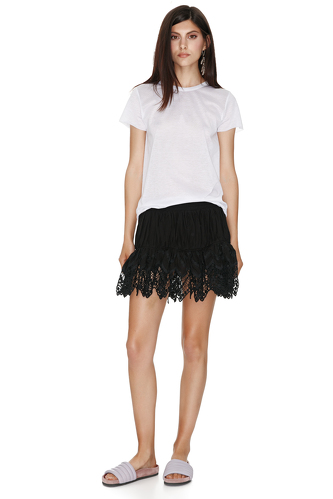 Black Skirt With Crocheted Hem - PNK Casual
