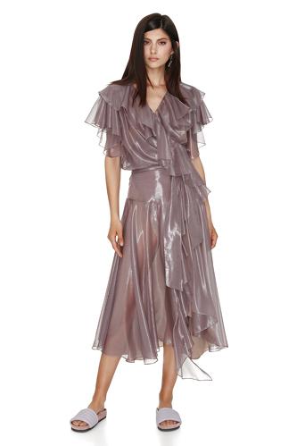 Metallic Silk Wrap Dress - PNK Casual
