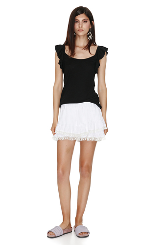 Black ribbed tank with ruffles sleeves - PNK Casual