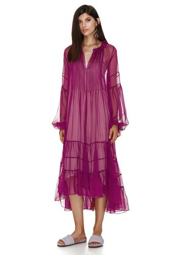 Fuchsia Silk Chiffon Midi Dress - PNK Casual