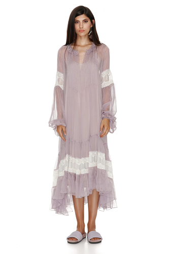 Lavender Silk Chiffon MiDi Dress - PNK Casual