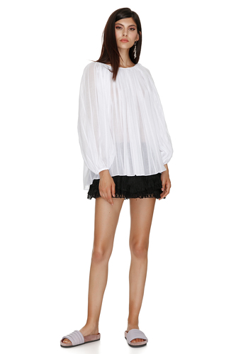 White Cotton Peasant Blouse - PNK Casual