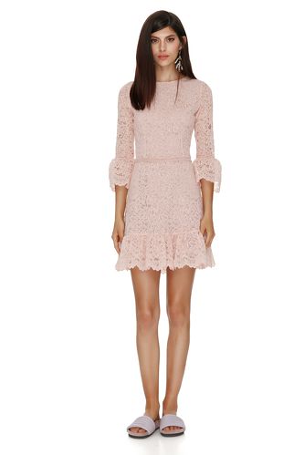 Pink Floral Lace Mini Dress - PNK Casual