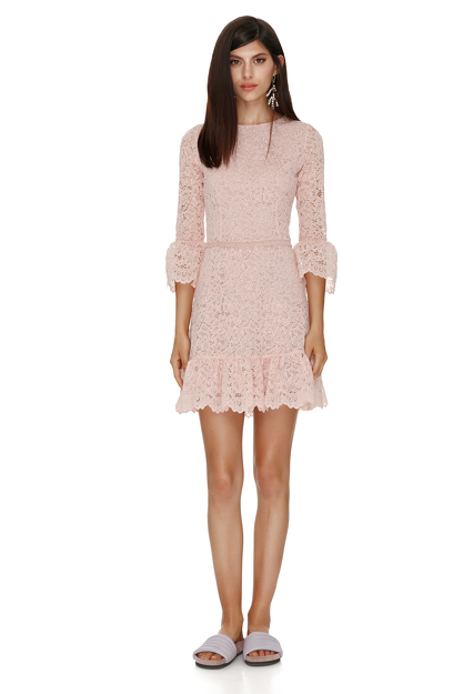 Pink Floral Lace Mini Dress