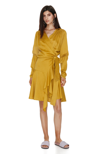 Yellow Linen Wrap Dress - PNK Casual