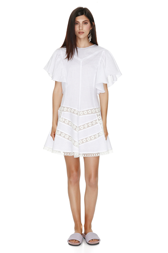 Mini Linen White Dress - PNK Casual