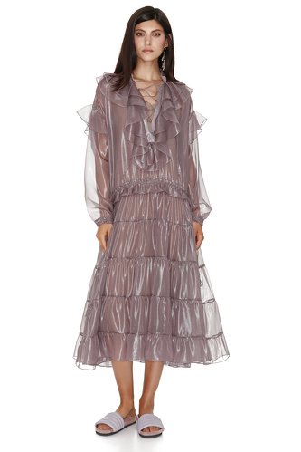 Metallic Mauve Silk Midi Dress - PNK Casual