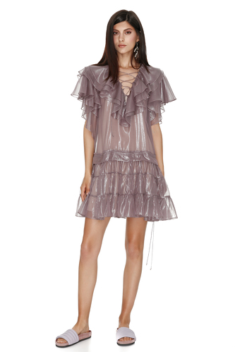 Metallic Mauve Silk Mini Dress - PNK Casual