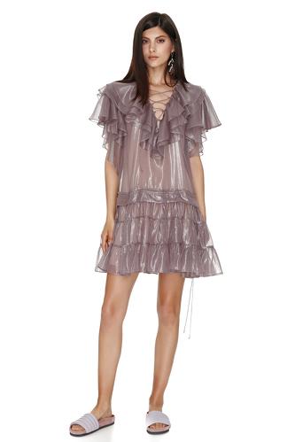 Metallic Mauve Silk Mini Dress - PNK Casual