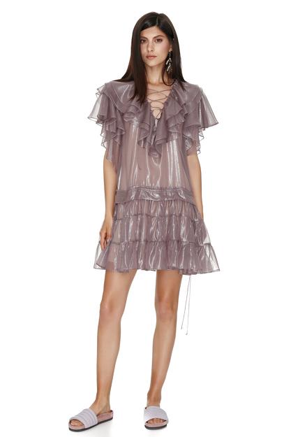 Metallic Mauve Silk Mini Dress
