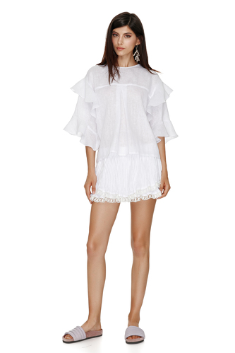 Linen White Shorts With Cotton Lace Hem - PNK Casual