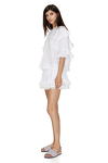 Linen White Shorts With Cotton Lace Hem