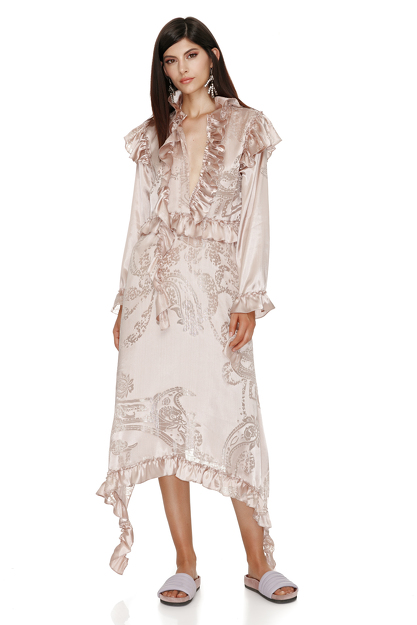 Silk Rose Metallic Asymmetrical Dress