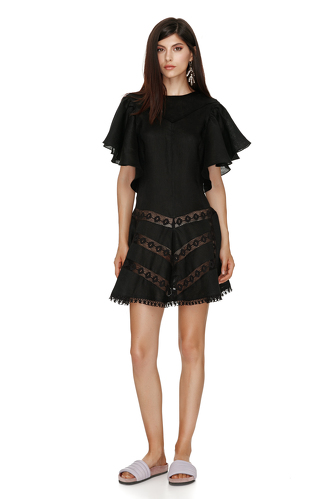 Mini Linen Black Dress - PNK Casual