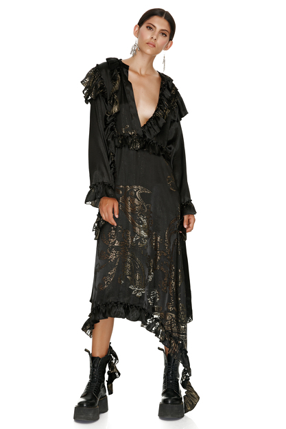 Black Metallic Silk Asymmetrical Midi Dress