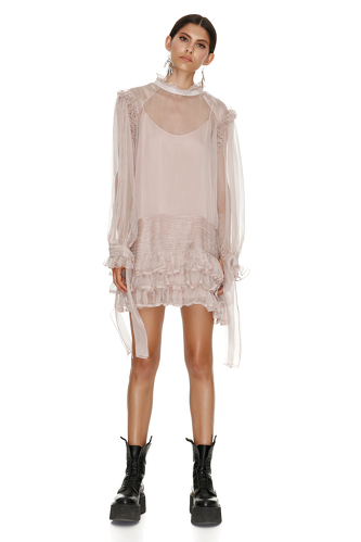 Ruffled Beige Silk Dress - PNK Casual