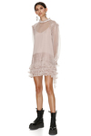 Ruffled Beige Silk Dress