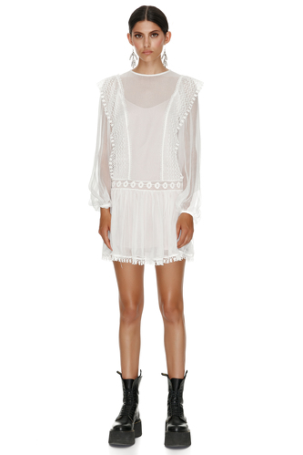White Silk Mini Dress With Cotton Lace Insertions - PNK Casual