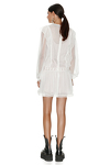 White Silk Mini Dress With Cotton Lace Insertions