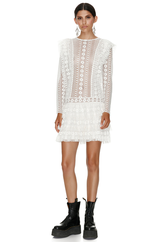 White Cotton Crochet Mini Dress - PNK Casual