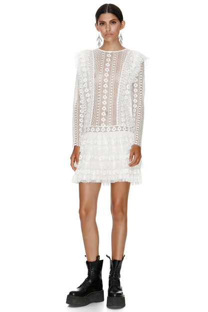 White Cotton Crochet Mini Dress