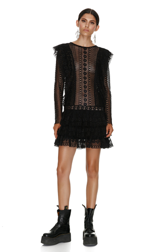 Black Cotton Crochet Mini Dress - PNK Casual
