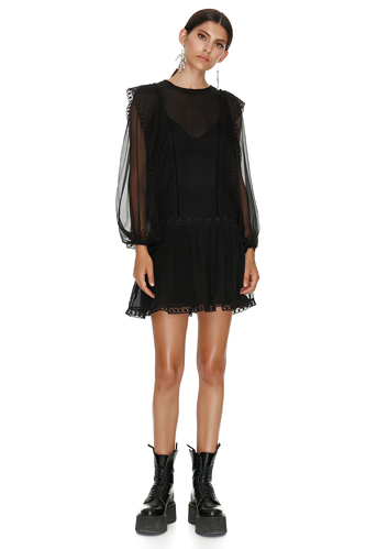 Black Silk Mini Dress With Cotton Lace Insertions - PNK Casual