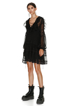 Black Silk Mini Dress With Cotton Lace Insertions
