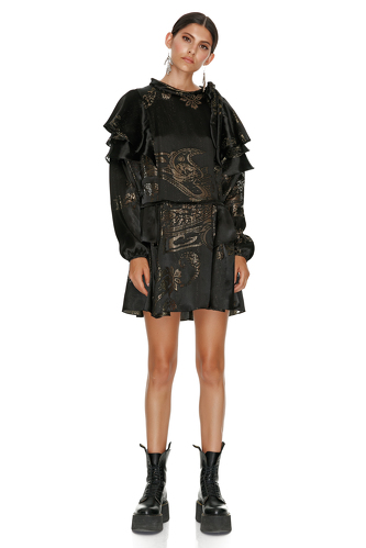Silk Black Metallic Mini Dress - PNK Casual