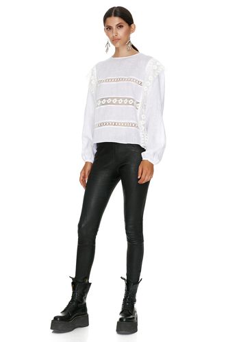White Linen Blouse With Cotton Lace Insertions - PNK Casual