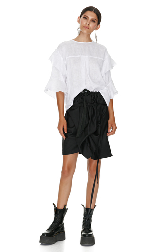 White Linen Blouse With Ruffles - PNK Casual