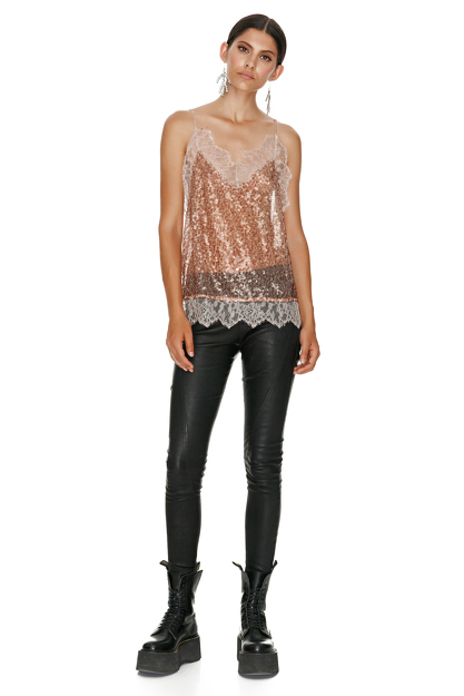 Brown Sequin Top With Chantilly Insertions