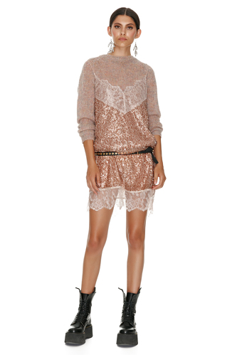 Brown Sequin Dress With Chantilly Insertions - PNK Casual