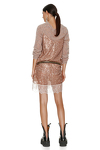 Brown Sequin Dress With Chantilly Insertions