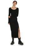 Ribbed Cotton Black Midi Dress