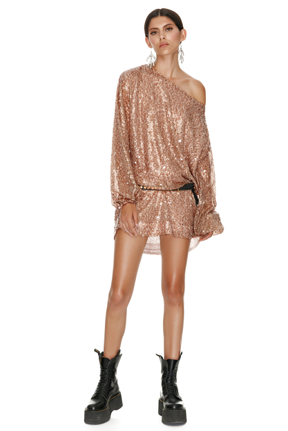 Brown Sequin Mini Dress