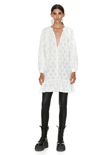 Embroidered Cotton White Dress - PNK Casual